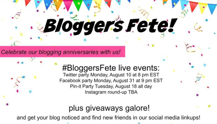 Save The Date! August Brings a Huge #BloggersFete With Giveaways Galore!!